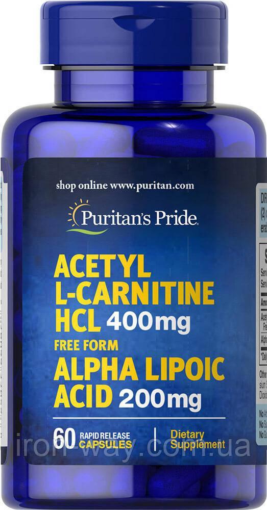 Puritan's Pride Acetyl L-Carnitine HCL 400 mg Alpha Lipoic acid 200 mg 60 caps