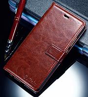 Кожаный чехол-книжка для Huawei P9 коричневый