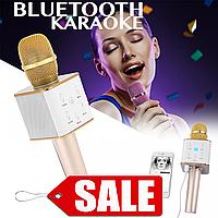 Беспроводной Блютуз Караоке Микрофон и динамик Bluetooth Q7 GOLD