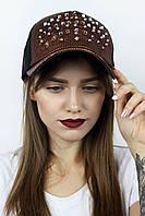 Женская кепка паетки с шипами терракотовая