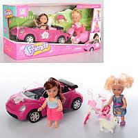 Машина для куклы, куклы 2 шт по 11 см, машинка 21 см, 2 вида (мотоцикл, велосипед),K899-75-76
