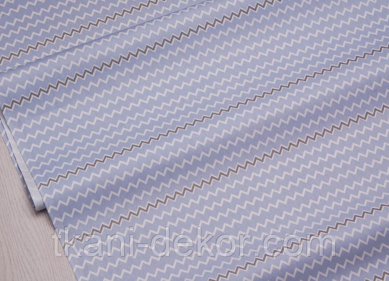 Сатин (хлопковая ткань) голубая,серая волнистая полоска