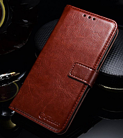 Кожаный чехол-книжка для Huawei Honor 10 коричневый