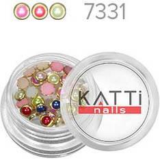 KATTi Жемчуг банка смола Pearls 7331 с клепками золото 4мм микс перламутр 30шт