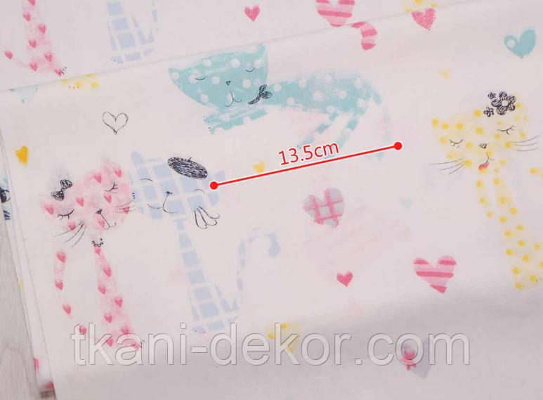 Сатин (хлопковая ткань) длинные коты с бантами и сердцами