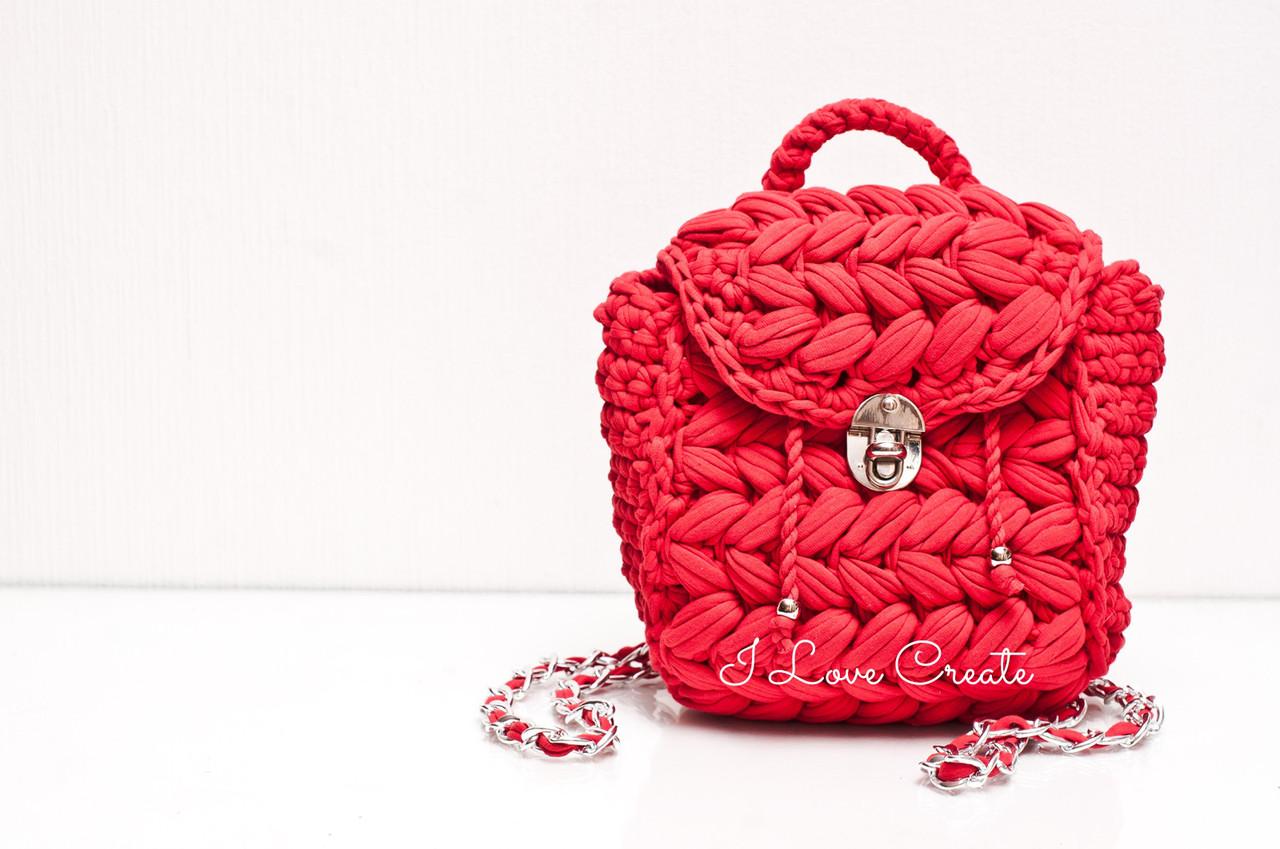 c9d4b1534b7e Вязаный рюкзак Zeffirka Красный мак из трикотажной пряжи - Вязанные сумки,  схемы и видео-