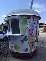 Белый киоск-стакан мороженное с белой крышей МАФ