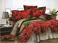3D Двоспальне постільна білизна Amika бордові троянди