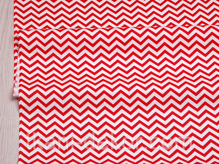 Сатин (хлопковая ткань) мелкий зигзаг красный (точки от кромки 65 см)