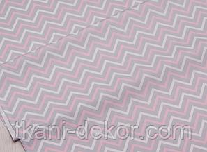 Сатин (хлопковая ткань) на сером фоне белый,розовый зигзаг (75*160)