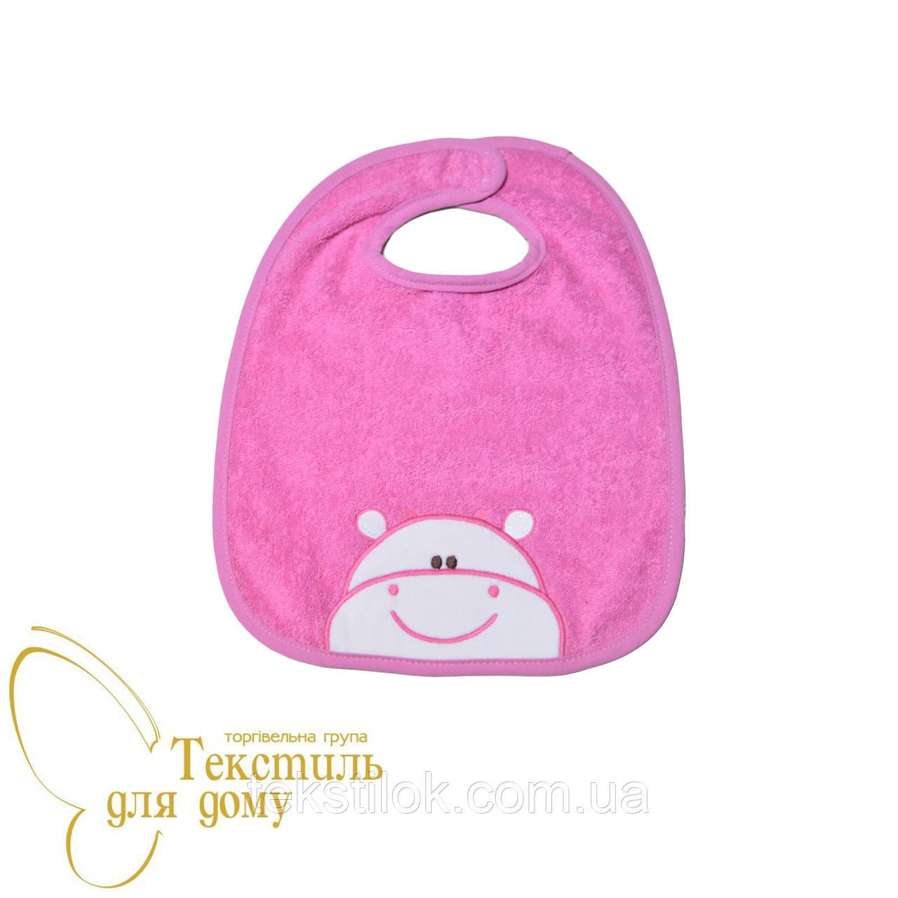 Слюнявчик детский, махра с аппликацией, розовый