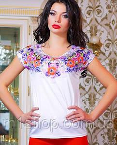 Женская футболка с цветами на груди (0764-0763 svt)
