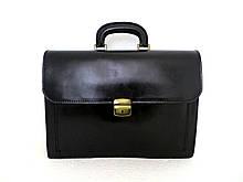 Мужской деловой портфель, вместительный. Кожаный. Италия