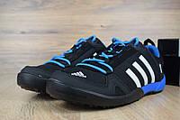 Мужские кроссовки  Adidas Daroga Two Climacool черные с синим (ТОП реплика)