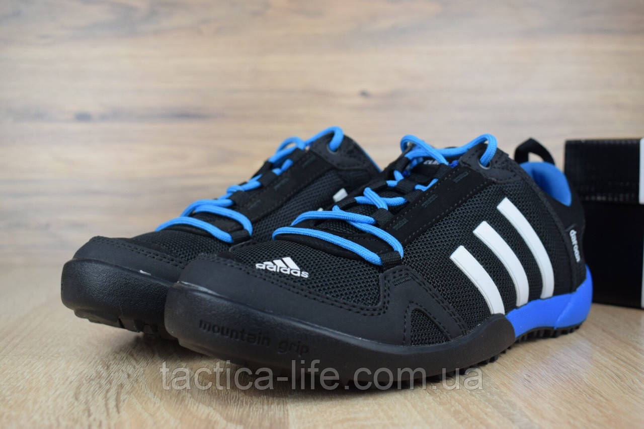 super popular b3044 b5046 Мужские кроссовки Adidas Daroga Two Climacool черные с синим (ТОП реплика)
