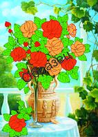Схема для вышивки лентами  «Букет прекрасных роз»
