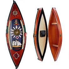 Ключница из дерева с часами Лодка