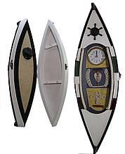 Настенная ключница из дерева с часами Лодка