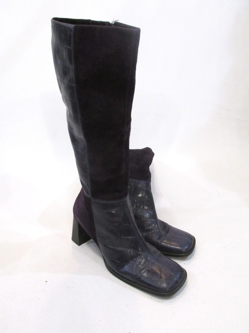 Сапожки кожаные YKX & Co, фиолетовые, 41 (26.5 см), Отл сост!