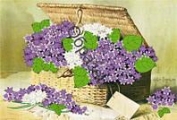 Схема для вышивки лентами  «Корзина цветов»