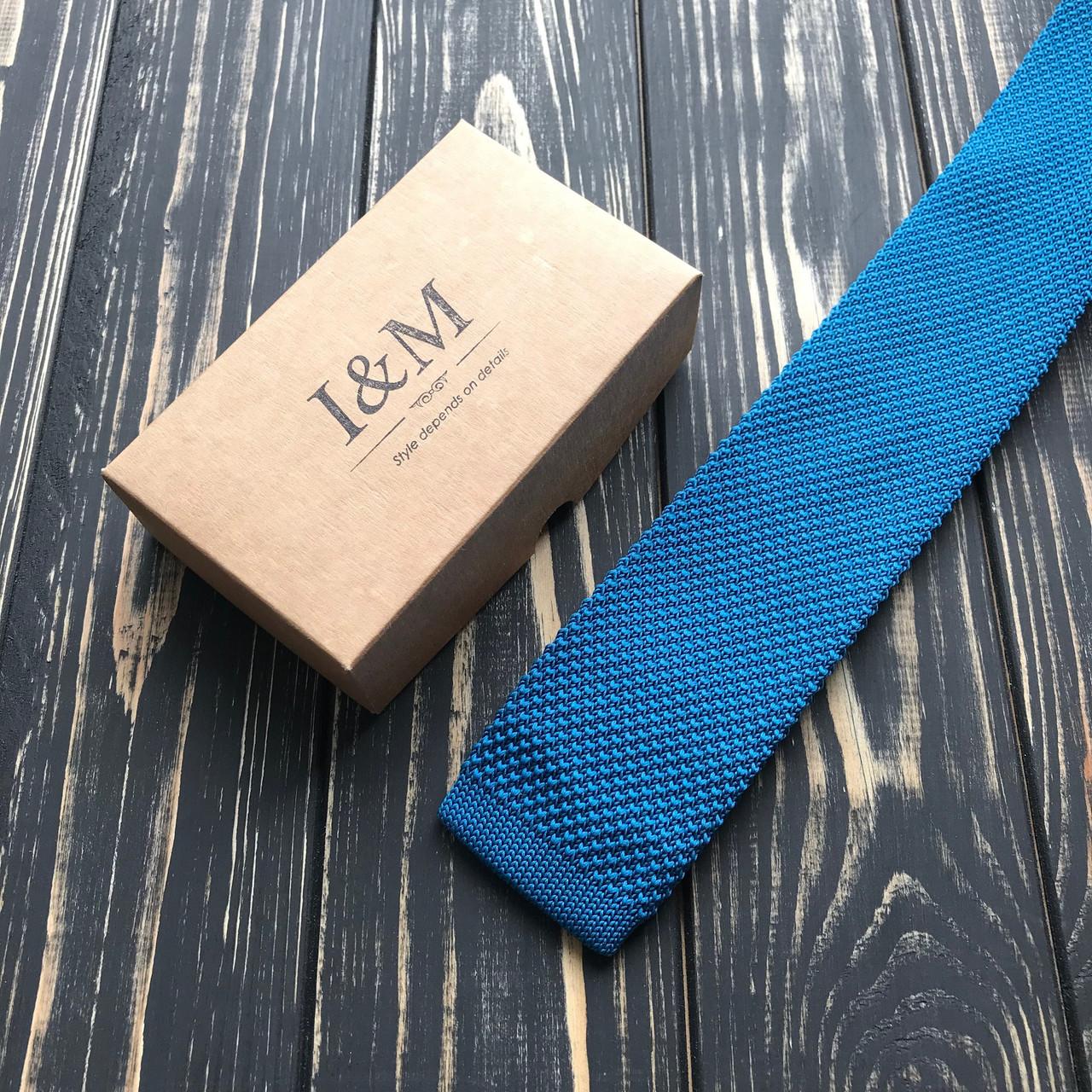 Галстук I&M Craft вязаный голубой (020208)