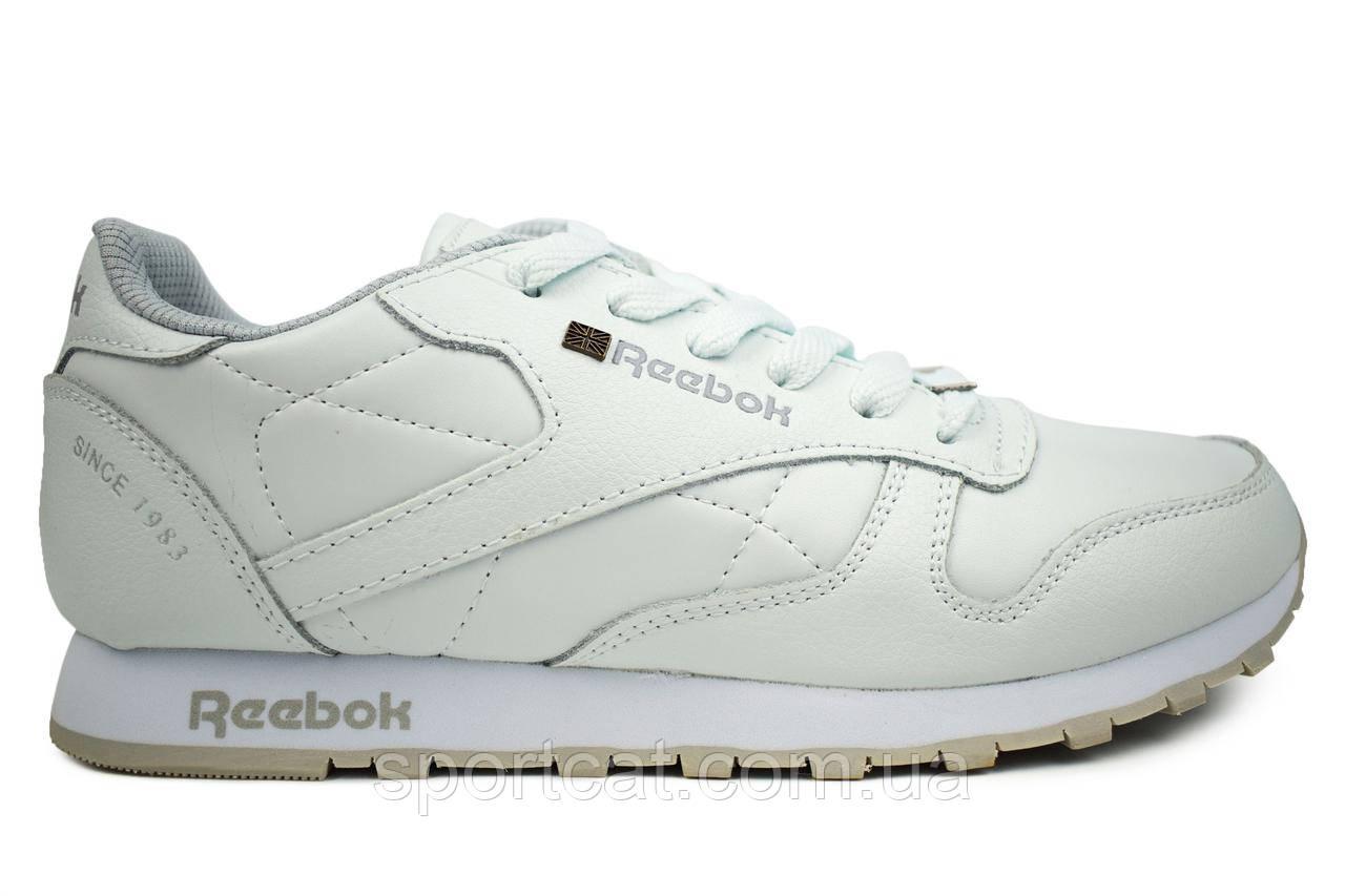 Мужские  кроссовки Reebok Classiс, кожаные, белые Р. 46