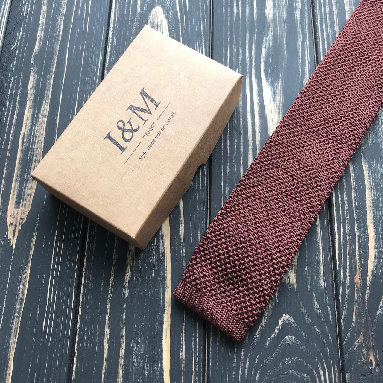 Галстук I&M Craft вязаный коричневый (020209)