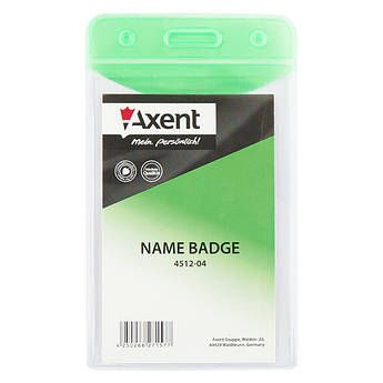 Бейдж вертикальний Axent 51х83мм глянцевый зеленый 4512-04-A