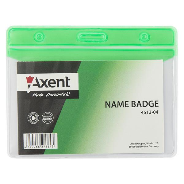 Бейдж горизонтальный Axent 83х52мм матовый зеленый 4513-04-A