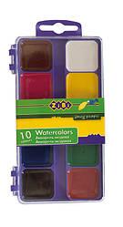 Акварель 10 цветов пластиковая коробка без кисти фиолетовый ZB.6520-07