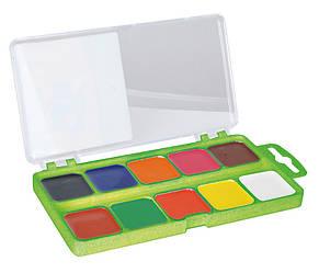 Акварель 10 цветов пластиковая коробка без кисти салатовый ZB.6520-15
