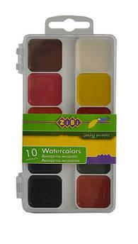 Краски акварельные ZiBi 10 цветов пласт.кор белый ZB.6520