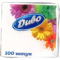 Салфетки бумажные Диво 330х330 100шт. белый сп.дв33х33/100