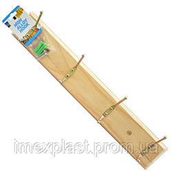 """Вешалка на деревянной основе 4 крючка (39,5*6,7*1,2 см) - (Польша) TM """"Tadar"""""""
