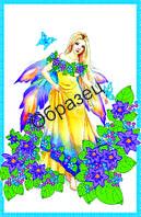 Схема для вышивки лентами «Прекрасная фея в цветах»