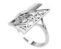 Кольцо  женское серебряное  Asymmetry 21158