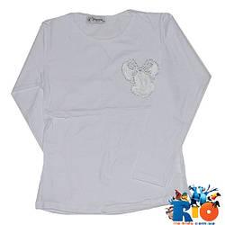 Белая футболка c длинным рукавом, из трикотажа, для девочки 8-9, 9-10, 10-11, 11-12 лет (4 ед. в уп.)