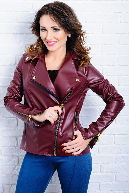 Бордова жіноча куртка з екошкіри - Клер -