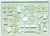 Линейка-трафарет электросхем Спектр пластик 180х125мм прозрачный ТЭ-1