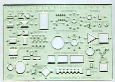 Линейка-трафарет электросхем 180х125мм Спектр пластик прозрачный (ТЭ-1)