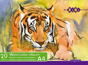 Альбом для рисования ZiBi A4 20 листов 200г/м2 твердая основа склейка ZB.1983