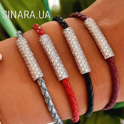 Брендовий браслет червона шкіра з сріблом - Шкіряний браслет з сріблом - шкіра Браслет з сріблом