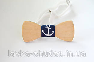 Детская деревянная галстук - бабочка якорь