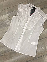 Блузка белая, блузка хлопок, женская блузка нарядная, рубашка безрукавка размер 36