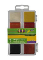 Краски акварельные ZiBi 8 цветов пласт.кор белый ZB.6519