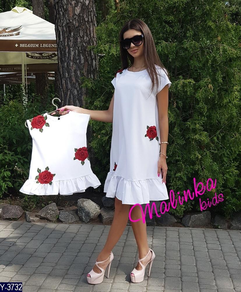 Платье детское Роза  с воланами 4 цвета Супер качество ткань костюмка 104-110, 110-116, 116-122, 92-100