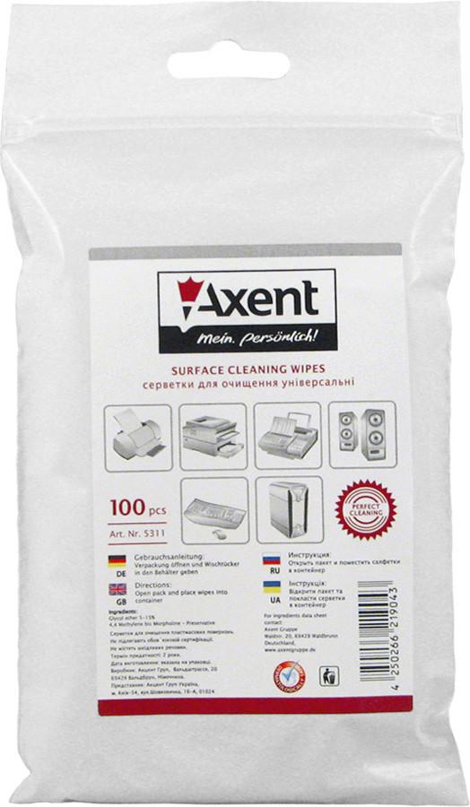 Салфетки для огртехники Axent влажные сменные 100 шт 5311-А
