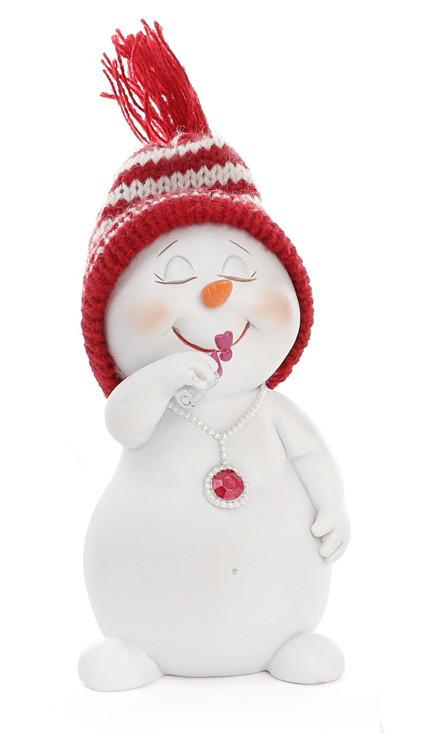 Новогодняя фигурка Снеговик в вязаной шапке 11.5см 2 вида (559-317)