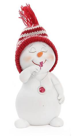 Новогодняя фигурка Снеговик в вязаной шапке 11.5см 2 вида (559-317), фото 2