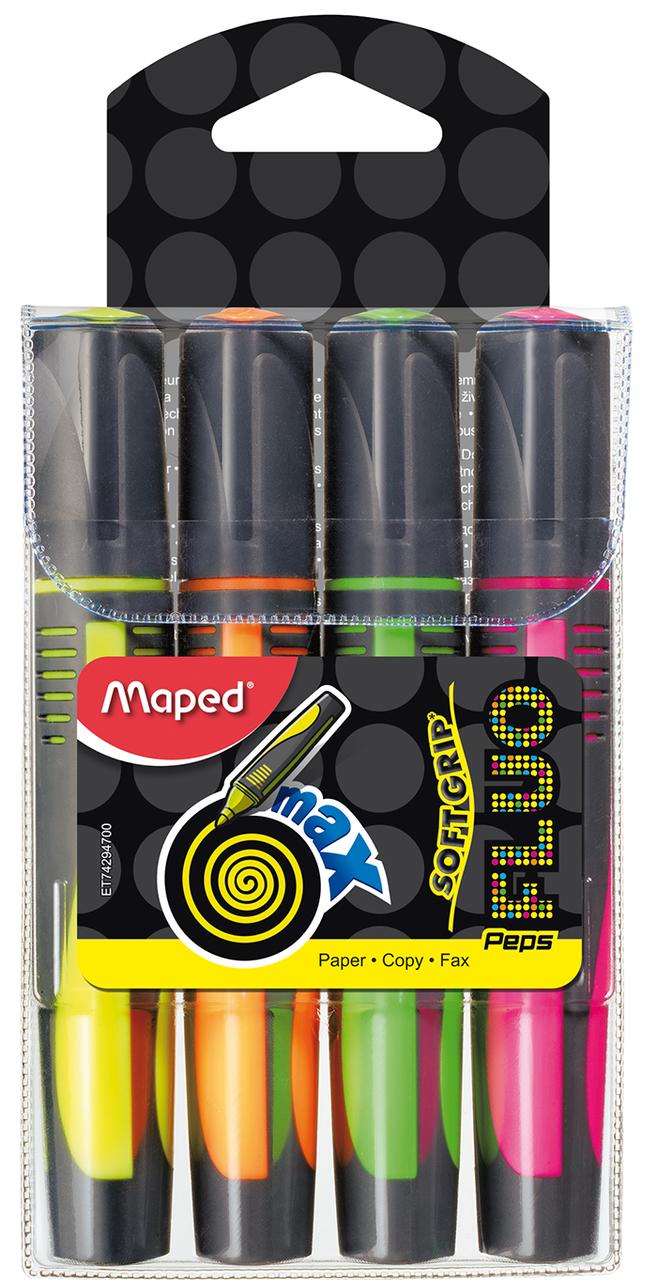 Текст-маркер FLUO PEPS Max, набор 4 шт., блистер